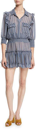 MISA Los Angeles Lillian Printed Ruffle Mini Shirtdress