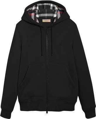 Burberry Check detail zipped hoodie