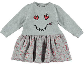Stella McCartney Ladybug Smiley Face & Heart Long-Sleeve Dress, Size 6-36 Months