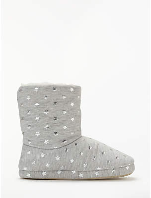 John Lewis & Partners Foil Star Boot Slippers, Grey