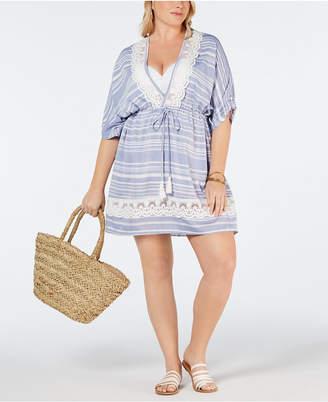 Dotti Plus Size Crochet Tassel-Tie Cover-Up Women Swimsuit