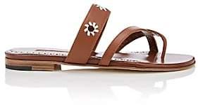 Manolo Blahnik Women's Susahole Leather Slide Sandals-Luggage Leather