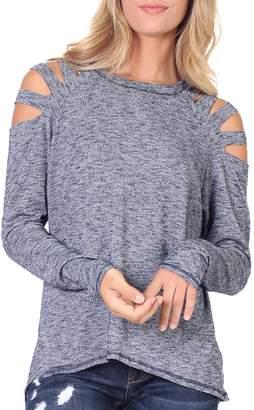 Elan International Cold Shoulder Slit Top