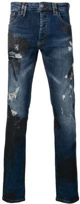 Philipp Plein palm print distressed jeans