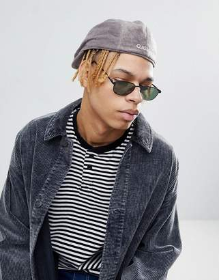 Asos DESIGN Flat Cap In Gray Towelling With Embroidery Detail
