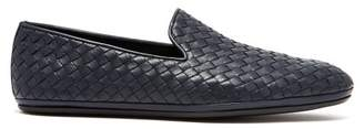 Bottega Veneta Intrecciato Leather Loafers - Mens - Navy