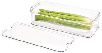 clear Idesign iDesign Stackable Refrigerator and Pantry Produce Crisp Bin, BPA Free Plastic, and White