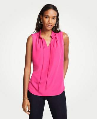 Ann Taylor Pleated Tie Neck Shell