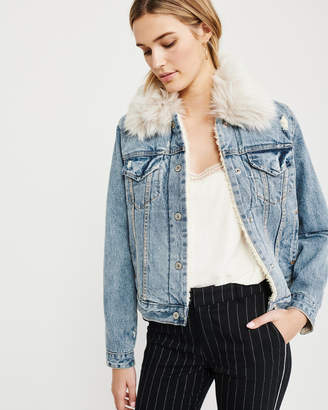 Abercrombie & Fitch Sherpa-Lined Denim Jacket