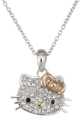 Hello Kitty Czech Crystal Flat Pave Face Rose Gold Plated Bow Girl's Pendant Necklace