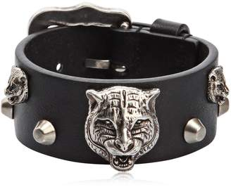 0e299455e at Luisaviaroma · Gucci Tiger Head Leather Bracelet
