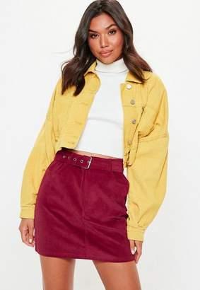 Missguided Burgundy Corduroy Buckle Detail Mini Skirt
