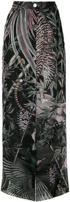 Just Cavalli flared nature print trousers