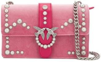 Pinko two tone faux pearl embellished shoulder bag