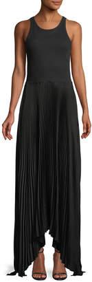 Theory Vinessi Mixed Rib-Knit Pleated Skirt Maxi Dress