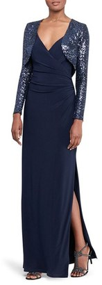 Women's Lauren Ralph Lauren Ruched Faux Wrap Gown With Sequin Bolero $230 thestylecure.com