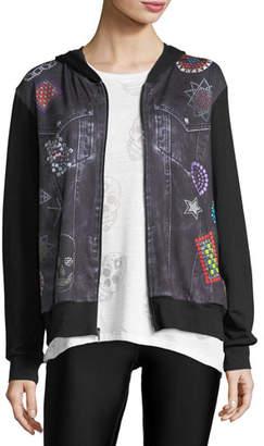 Terez Denim Crystal Zip-Front Printed Jacket