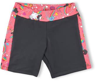 Girl Power Sport Active Bike Shorts w/ Pugicorn Print Trim, Size XS-L