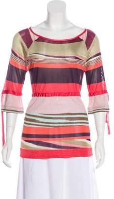 Missoni Stripe Print Three-Quarter Sleeve Top