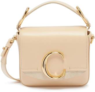 Chloé 'Chloe C' suede panel mini leather top handle bag