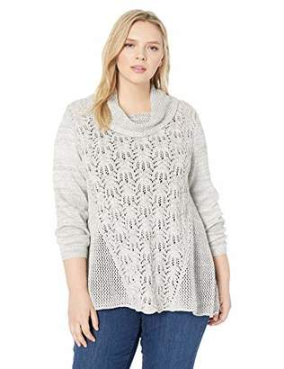 Skyes The Limit Women's Plus Size Long Sleeve Sequin Sweater with Cowl Neck