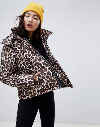 NA-KD leopard print padded jacket in brown
