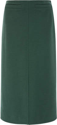 Courreges Iconic Front Split Wool Midi Skirt