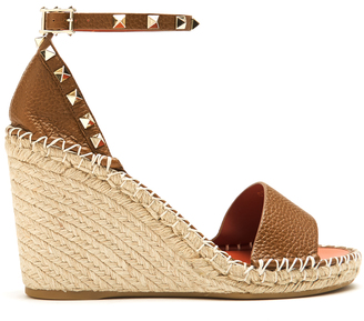 VALENTINO Rockstud leather espadrille wedge sandals $795 thestylecure.com
