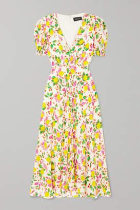 Saloni Lea Printed Silk Crepe De Chine Midi Dress - White