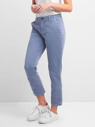 Gap Girlfriend Chinos with Eyelet Embroidery in Color