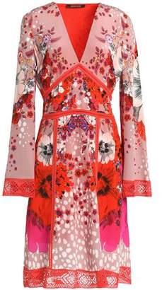 Roberto Cavalli Crochet-Trimmed Floral-Print Silk Dress