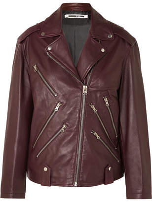 McQ Oversized Leather Biker Jacket - Burgundy