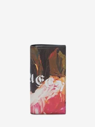 Alexander McQueen Painted Rose Folded Long Wallet