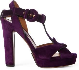 Ralph Lauren Kerrey Velvet T-Strap Sandal