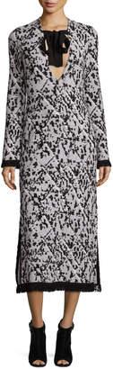Proenza Schouler Fringed V-Neck Jacquard Midi Dress, Black/White