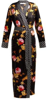 Richard Quinn - Cloud Rose Print Silk Satin Robe - Womens - Black Print