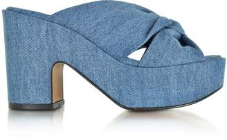 Robert Clergerie Esthert Blue Denim Platform Slide