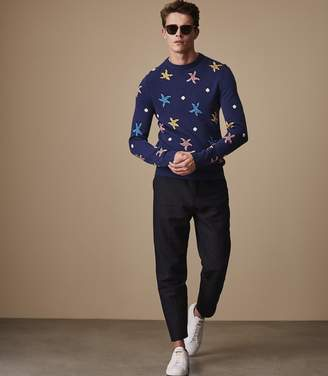 Reiss SANDSTORM PATTERNED JUMPER Cobalt