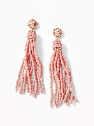 Old Navy Crystal Beaded Tassel Earrings for Women