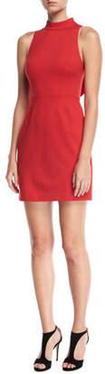 Trina Turk Mock-Neck Sleeveless Cutout Ruffle Back Dress