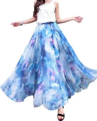 Medeshe Women's Lightweight Floral Holiday Beach Chiffon Maxi Skirt Plus Size