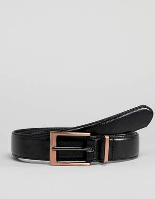 New Look faux leather belt with rose gold buckle in black