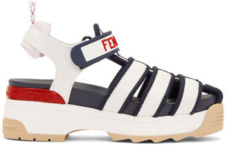 Fendi White and Navy T-Rex Platform Sandals