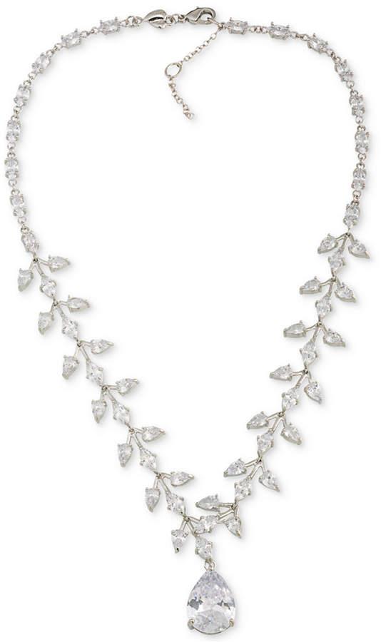 CaroleeCarolee Silver-Tone Crystal Teardrop Statement Necklace