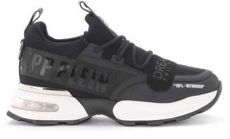 Philipp Plein Runner Tm Neoprene Net And Black Rubber Leather Sneaker