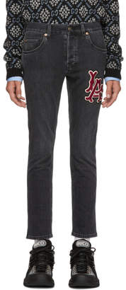 Gucci Black Los Angeles Dodgers Edition Patch Jeans