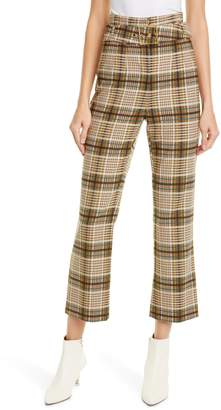 Jonathan Simkhai E-Cig Belted Plaid Pants