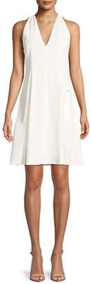 Elie Tahari Selene V-Neck Linen-Blend Dress