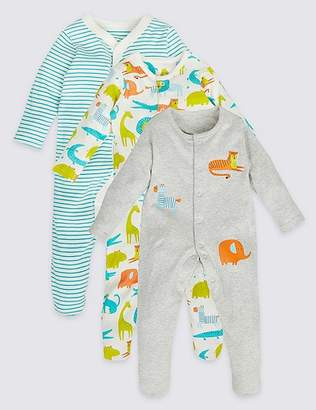 Marks and Spencer 3 Pack All Over Animal Print Sleepsuits