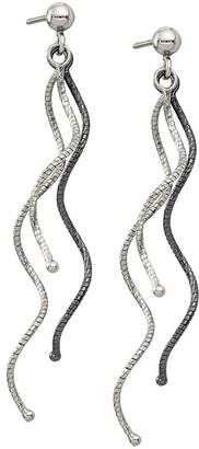 Sterling & Ruthenium-Plated Wavy Dangle Earrings